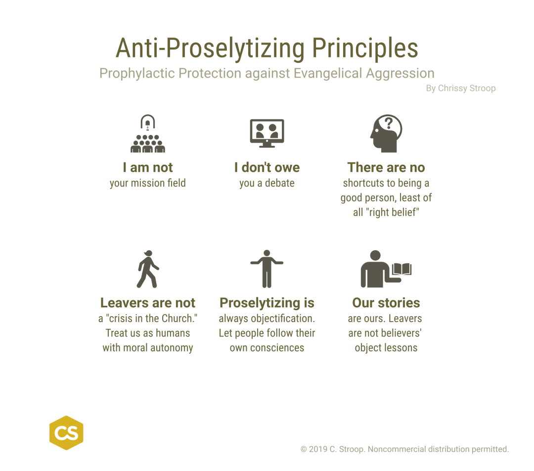 Anti-Proselytizing Prinxiples. Prophylactic Protection against Evangelical Aggression by Chrissy Stroop.